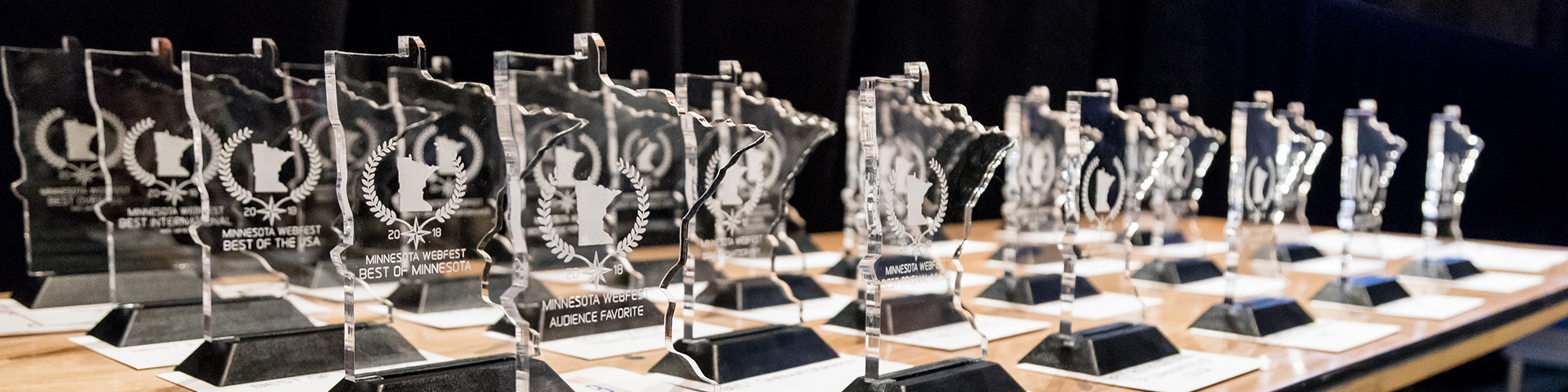 The trophies from the 2018 Minnesota WebFest